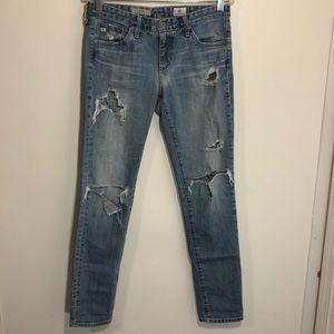 AG light wash blue jeans distressed skinny